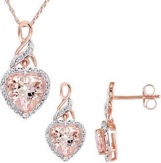 Concerto 10K Rose Gold, Morganite 0.2 CT. T.W. Diamond Pendant Necklace Drop Earrings Set