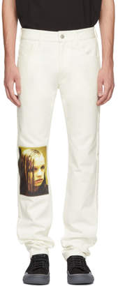 Raf Simons White Christiane F. Wet Hair Patch Regular Jeans