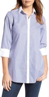 Women's Foxcroft Mini Stripe Non-Iron Tunic Shirt $98 thestylecure.com