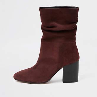 River Island Dark red block heel slouch boots