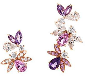 Bumble Bee Anyallerie 'Bumble Bee' diamond gemstone 18k rose gold mismatched earrings