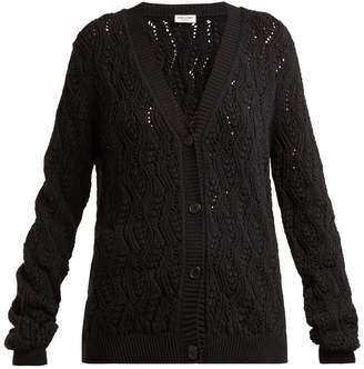 Saint Laurent V-neck cable-knit cotton-blend cardigan