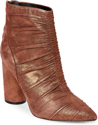 Sigerson Morrison Coffee Kimay Metallic Pointed Toe Booties