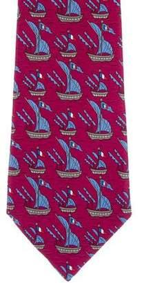Hermes Sail Boat Print Silk Tie
