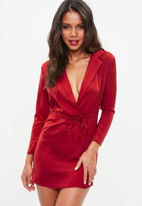 Missguided Petite Red Hammer Satin Tie Waist Dress, Red