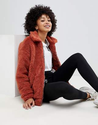 New Look teddy faux fur bomber jacket in rust