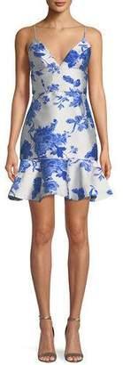 Mestiza New York Floral-Print Jacquard Ruffle Cocktail Mini Dress