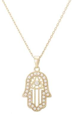 Lord & Taylor Goldtone Necklace with Pearl and Crystal Embellished Hamsa Pendant