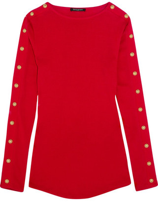 Balmain - Embellished Cotton-jersey Top - Red $1,020 thestylecure.com