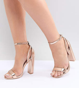 3afcf93600b77 Lost Ink Wide Fit Rose Gold Blaise Block Heeled Sandals