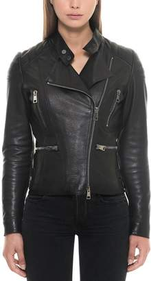Forzieri Black Padded Leather Women's Biker Jacket