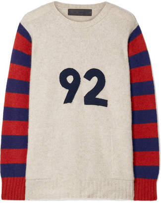 The Elder Statesman Fast Ocean Appliquéd Striped Cashmere Sweater - Beige