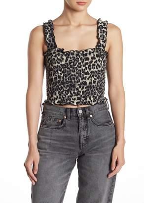Wild Honey Leopard Print Smocked Ruffled Crop Top