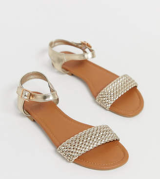 605cf937bd8c New Look Wide Fit wide fit woven flat sandal in gold