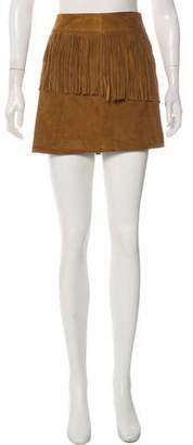 Saint Laurent Fringe-Trimmed Suede Skirt