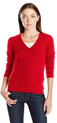 Lark & Ro Women's 100% Cashmere Soft Slim Fit Basic V-Neck Sweater