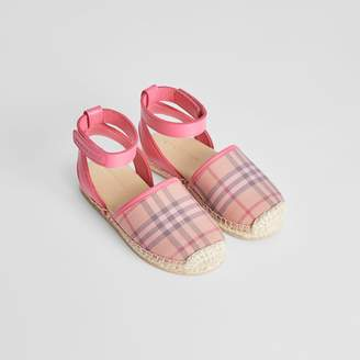 Burberry Check and Leather Espadrille Sandals