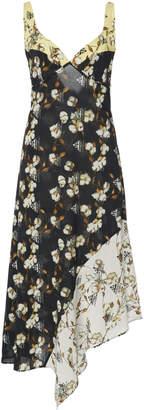 Off-White Asymmetric Floral-Print Crepe Midi Dress
