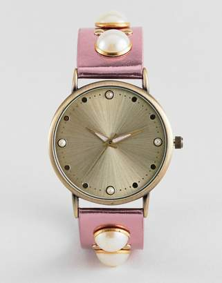 Asos DESIGN Metallic Pearl Embellished Watch