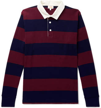 Armor Lux Striped Cotton-Jersey Polo Shirt - Men - Burgundy