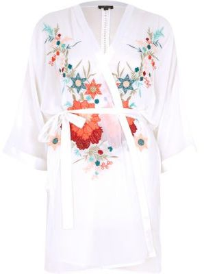 River Island River Island Womens White floral embroidered robe