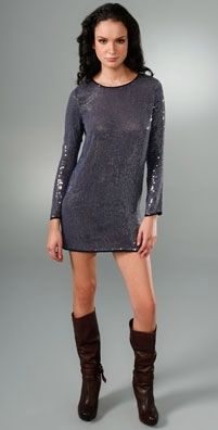 Haute Hippie Long Sleeve Sequin Dress