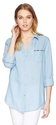 NYDJ Women's Classic Tencel Shirt with Embroidery