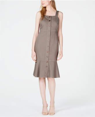 Oat Button-Front Flounce-Hem Dress