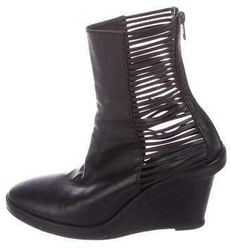 Ann Demeulemeester Leather Platform Wedge Ankle Boot