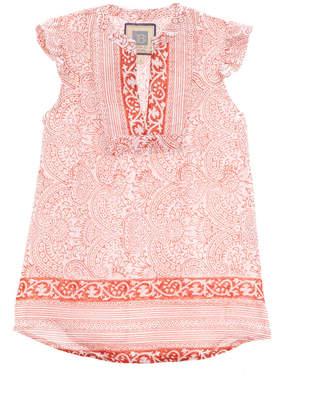 Alicia Bell Girls' Flutter Orange & White Dress