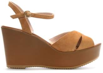 Donna Più Tan Suede Cross Strap Wedge Sandals
