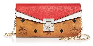 MCM Patricia Visetos Leather Convertible Crossbody Chain Wallet
