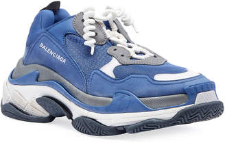 Balenciaga Men's Triple S Mesh & Leather Sneakers, Blue/Gray