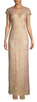 Adrianna Papell Metallic Lace Long Dress
