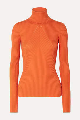 Victoria Beckham Paneled Ribbed Wool Turtleneck Sweater - Bright orange