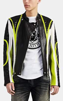 Balmain Men's Colorblocked Leather Biker Jacket - Black