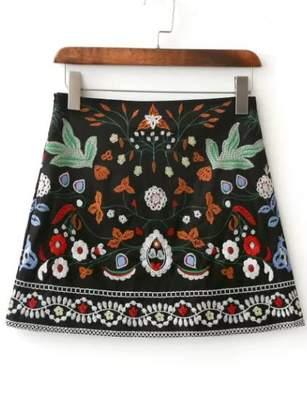 Shein Embroidery Mini Skirt