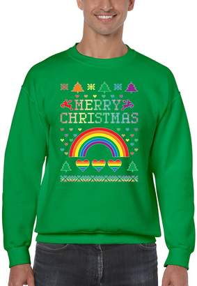 Allntrends Men's Crewneck Gay Pride Love Merry Christmas Ugly Sweater (M, )