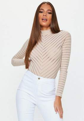 Missguided Nude Long Sleeve Chevron Bodysuit