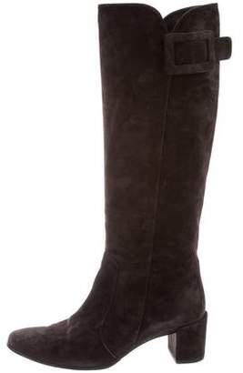 Roger Vivier Suede Buckle Boots
