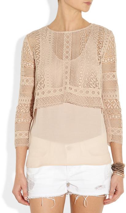 Maje Articho layered crochet-knit cotton and crepe de chine top