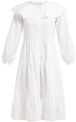 Sea Lace Trim Ruffled Cotton Dress - Womens - White