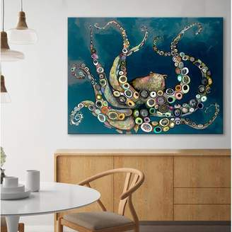 Beachcrest Home 'Octopus in the Navy Blue Sea' Framed on Canvas