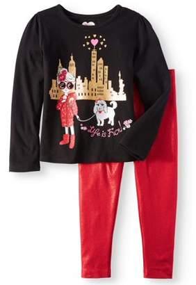 365 Kids From Garanimals Girls' Long Sleeve Graphic Tee & Shimmer Leggings, 2pc Outfit Set