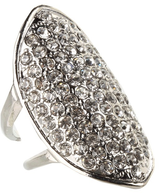 GUESS Pave Stone Ring (Silver/Crystal) - Jewelry