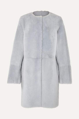 Yves Salomon Reversible Shearling Coat - Blue