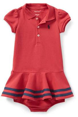 Ralph Lauren Short-Sleeve Striped-Hem Knit Polo Dress, Size 9-24 Months
