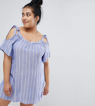 Zizzi Cold Shoulder Stripe Tunic Dress
