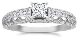 FineTresor 0.92 Carat Princess cut Diamond Designer Diamond Engagement Ring On 10K White Gold