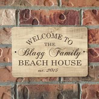 4 Wooden Shoes Personalized Wood Grain-Look Beach House Metal Sign Wall Dcor